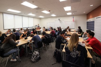 San Juan Hills High School students enjoy their first English class of the year in one of the new classrooms on campus. Photo: Allison Jarrell