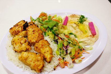 The chicken kabob plate at Cafe Mint. Photo: Daniel Ritz