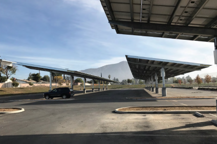 "This image shows the ""look and feel"" of the solar shade structures that will be constructed at CUSD's six high school campuses. Image: Courtesy of Arc Alternatives"