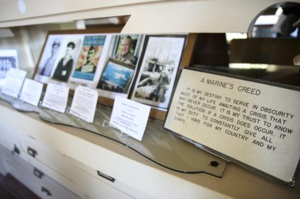 An array of memorabilia from Camp Pendleton and local veterans is currently on display at the Historical Society's exhibit on the 75th anniversary of Camp Pendleton. Photo: Allison Jarrell