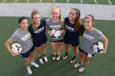 Rebecca Garibo, Brinley Hawkins, Megan McClellan, Erin Sulfaro and Cassie Gonzales will look to lead the San Juan Hills girls soccer team this season. Photo: Steve Breazeale