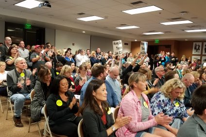 More than 200 teachers packed the Capistrano Unified School District's Board of Trustees meeting on Nov. 8 to draw attention to failed contract negotiations between CUSD and the Capistrano Unified Education Association. Photo: Allison Jarrell