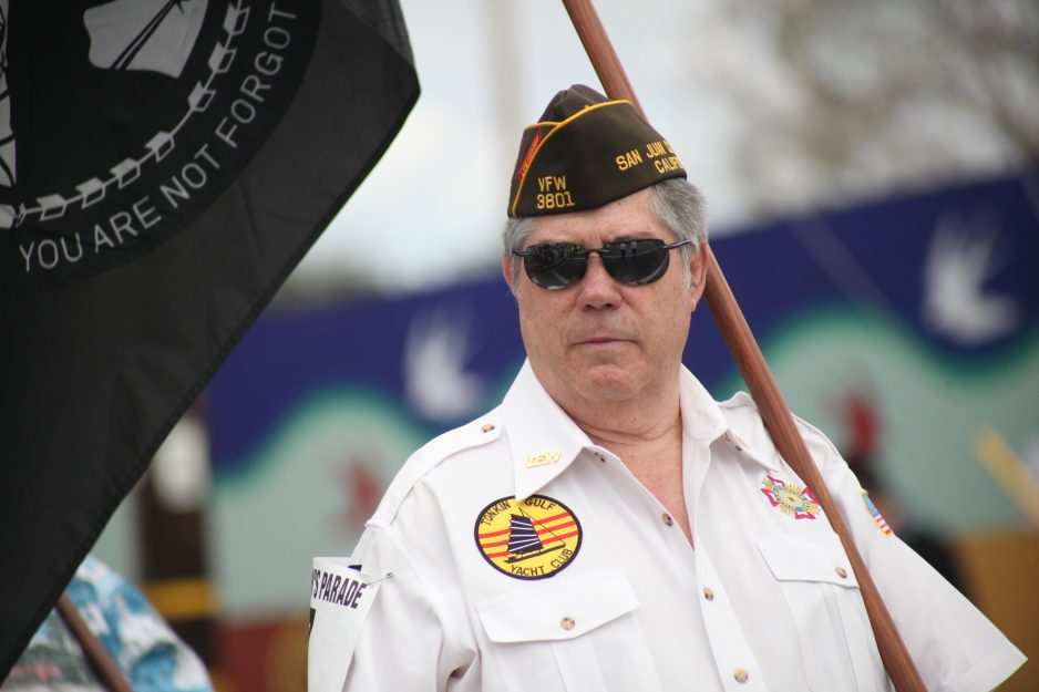 Matt Gaffney walks with the VFW Serra Post 3801 during the 2017 Swallows Day Parade. Gaffney is a two-time past commander of the American Legion Post in town and a life member of VFW Post 3801. Photo: Allison Jarrell