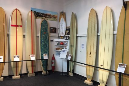 Patrons of the Surfing Heritage and Culture Center in San Clemente can learn about the origins and history of surfing in both artifact and photograph form. Photo: Eric Heinz