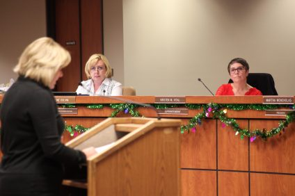 Superintendent Kirsten Vital listens to Capistrano Unified Education Association President Sally White address the CUSD Board of Trustees on Dec. 6. Photo: Allison Jarrell