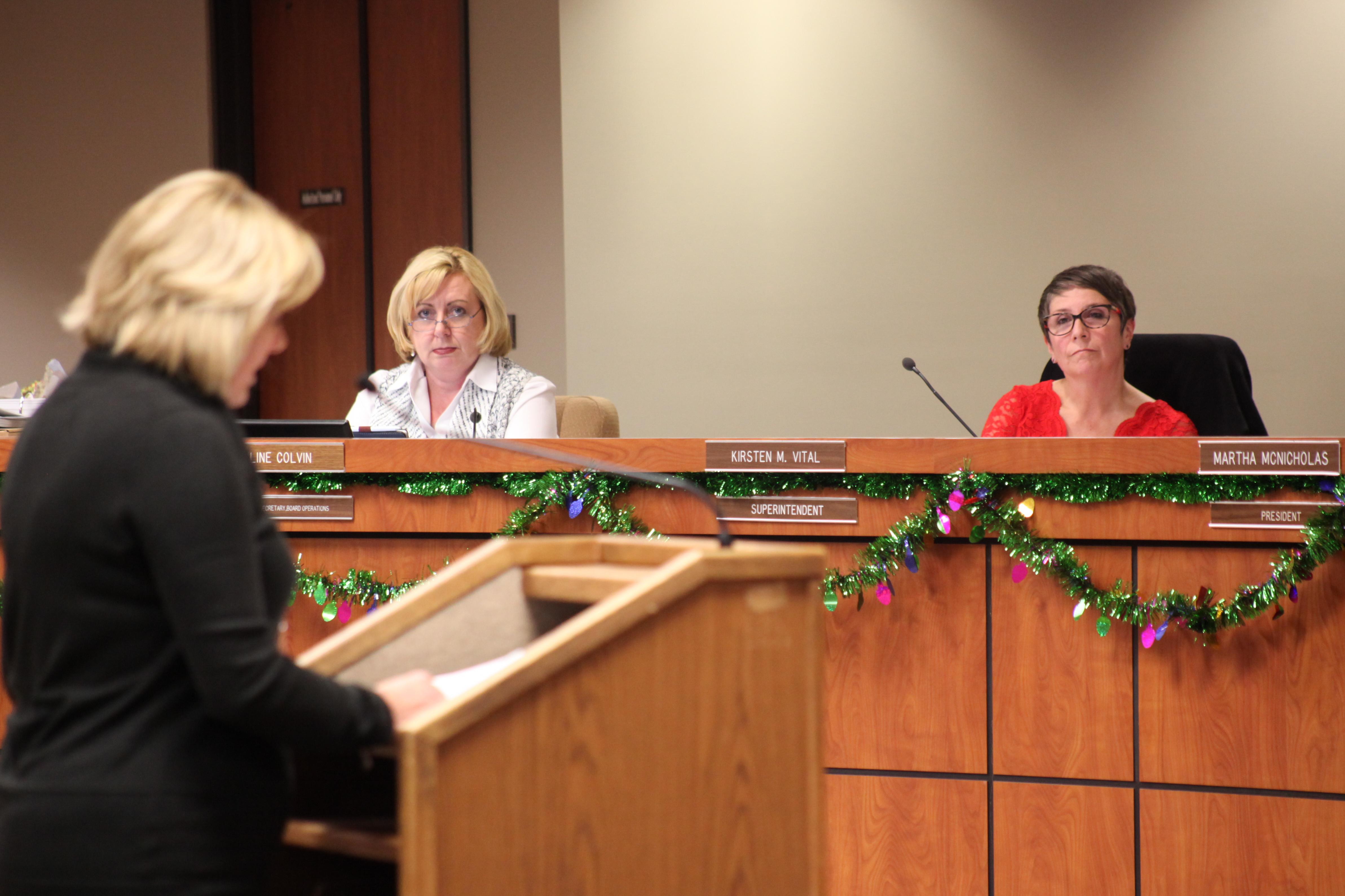 Superintendent Kirsten Vital listens to Capistrano Unified Education Association President Sally White address the CUSD Board of Trustees on Dec. 6. Photo: Allison Jarrell