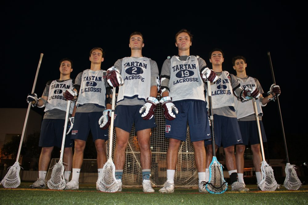 Max Martinez, Garrett Kuntz, Trevor Peay, Kevin Groeninger, Andy Shin and Andrew Maita (L to R) have St. Margaret's boys lacrosse team primed for another run at the Southern Section title. Photo: Zach Cavanagh