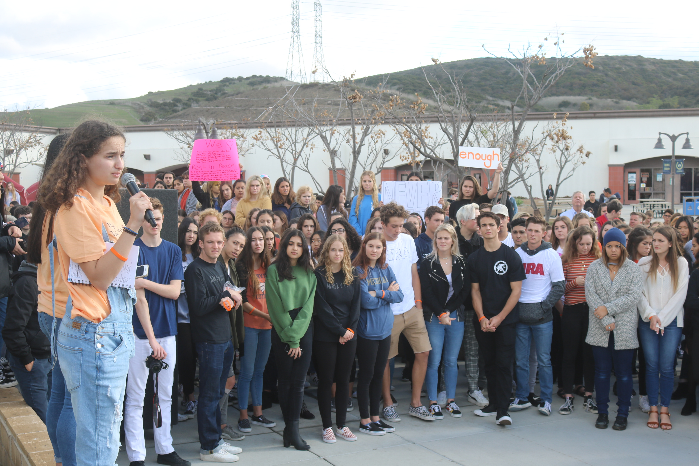 SJHHS student Kate Finman talks to nearly 1,000 students at the national school walk-out.
