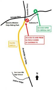 The Avenida La Pata route of construction from March 13 to April 13. Photo: Courtesy of Orange County Public Works.