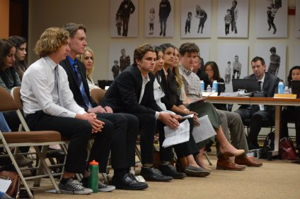 Some 10 Capistrano Unified School District students spoke in favor of the resolution to try to curb gun violence at a meeting on April 25. Photo: Emily Rasmussen