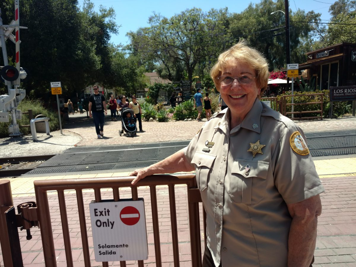 Lana VanSant, train kiosk coordinator for San Juan Capistrano's Associated Senior Action Program that assists the city's police services. Photo: Courtesy