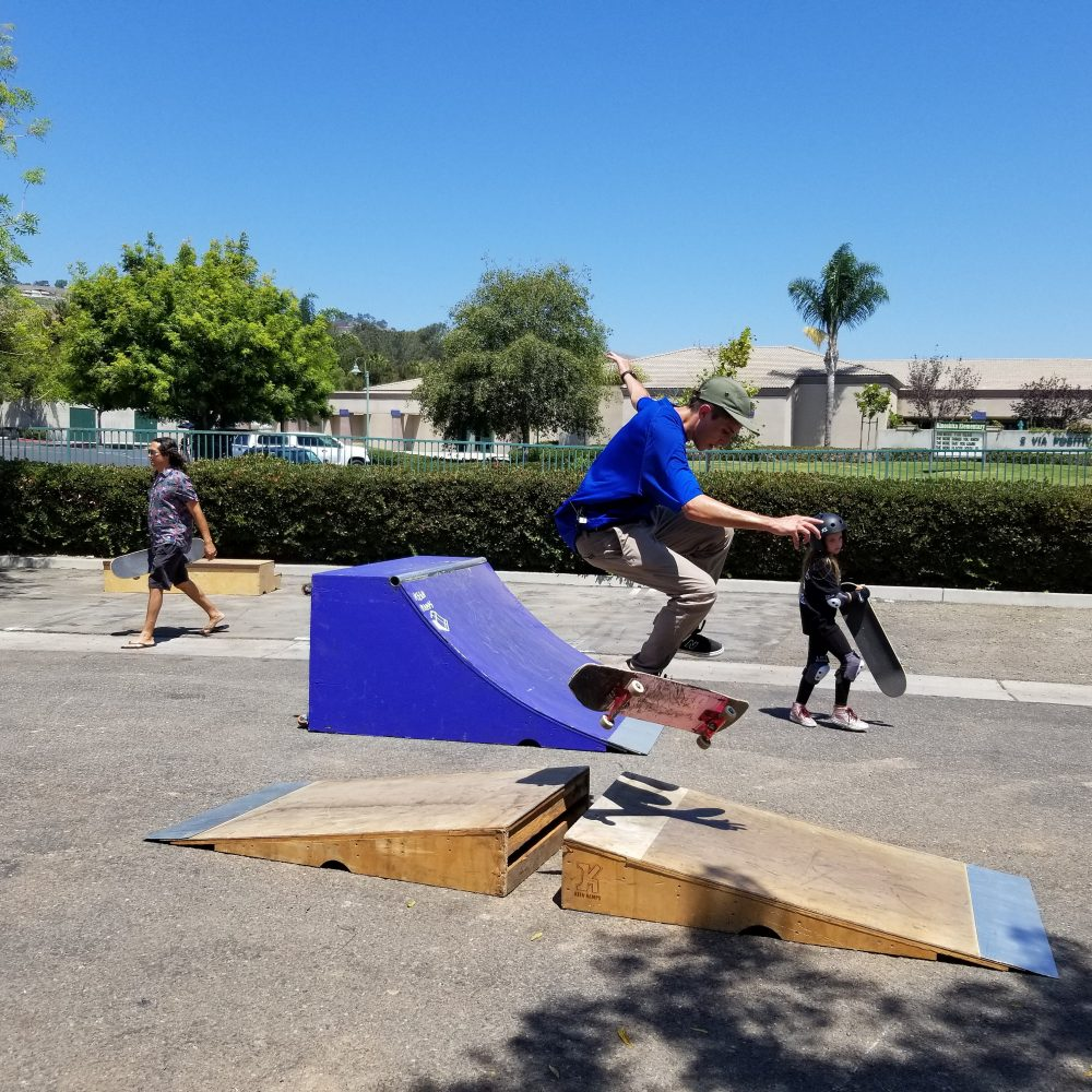 A teen does a trick with his skateboard at the San Juan Capistrano Sports Park on Saturday, Aug. 4. Photo: Alex Groves.