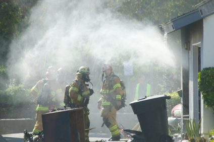 One person was hospitalized for smoke inhalation Wednesday, Aug. 8, following a fire at a San Juan Capistrano apartment. Photo: Eric Heinz.