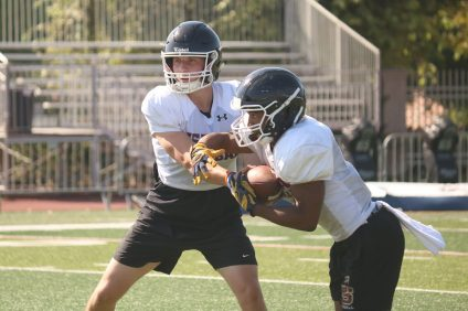 Senior quarterback Caden Bell (left) and junior running back Chris Street (right) made big news as transfers from Trinity League rivals Servite and Mater Dei, respectively. Photo: Zach Cavanagh