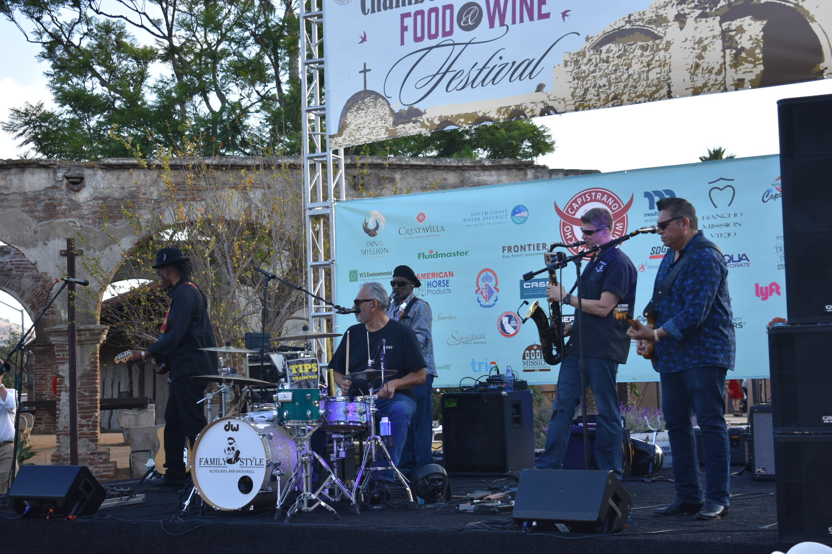The band family style does some practice sets before the Vintage Food & Wine Festival gets underway on Saturday, Oct. 6. Photo: Alex Groves