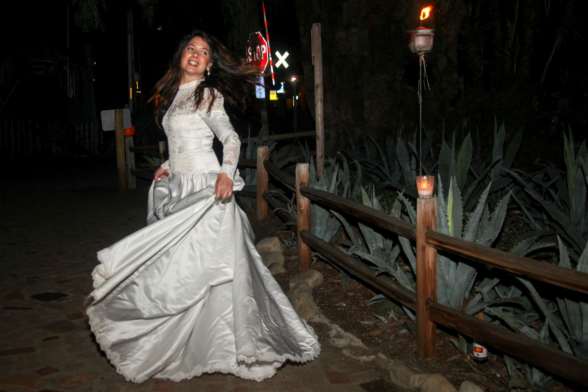 Monica Mukai, of San Juan Capistrano, dances through Los Rios Park as the White Lady, a friendly spirit who has been spotted in town during the 2017 Ghosts & Legends Tour. Photo: File.