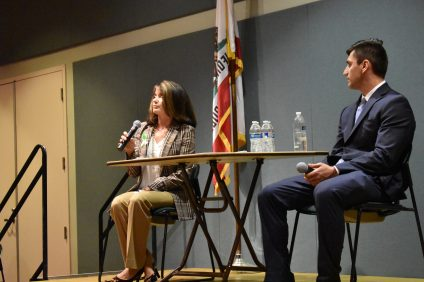 Diane Harkey Speaks during a forum at the San Juan Capistrano Community Center on Friday, Oct. 5. Photo: Alex Groves