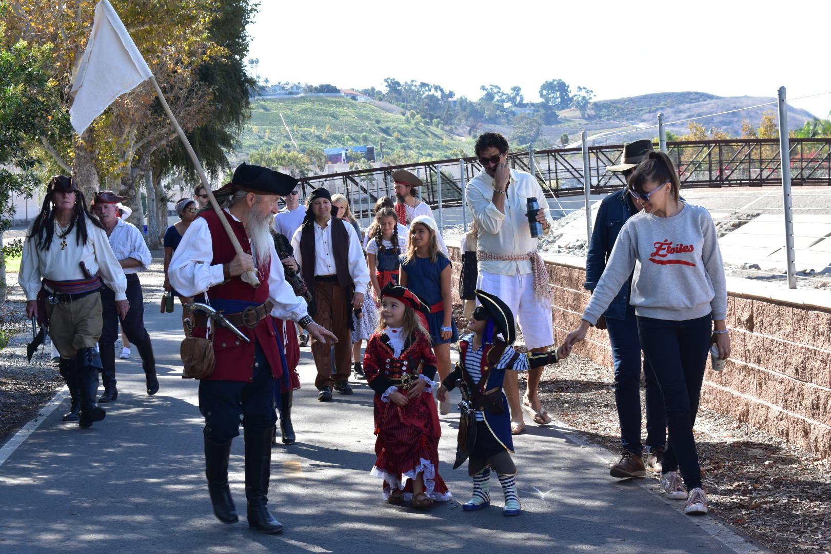 San Juan Capistrano residents and actors dressed as pirates march from Descanso Park to the Los Rios District on Saturday, Nov. 3, to commemorate the 200th anniversary of Hippolyte Bouchard's raid on San Juan Capistrano. Photo: Alex Groves
