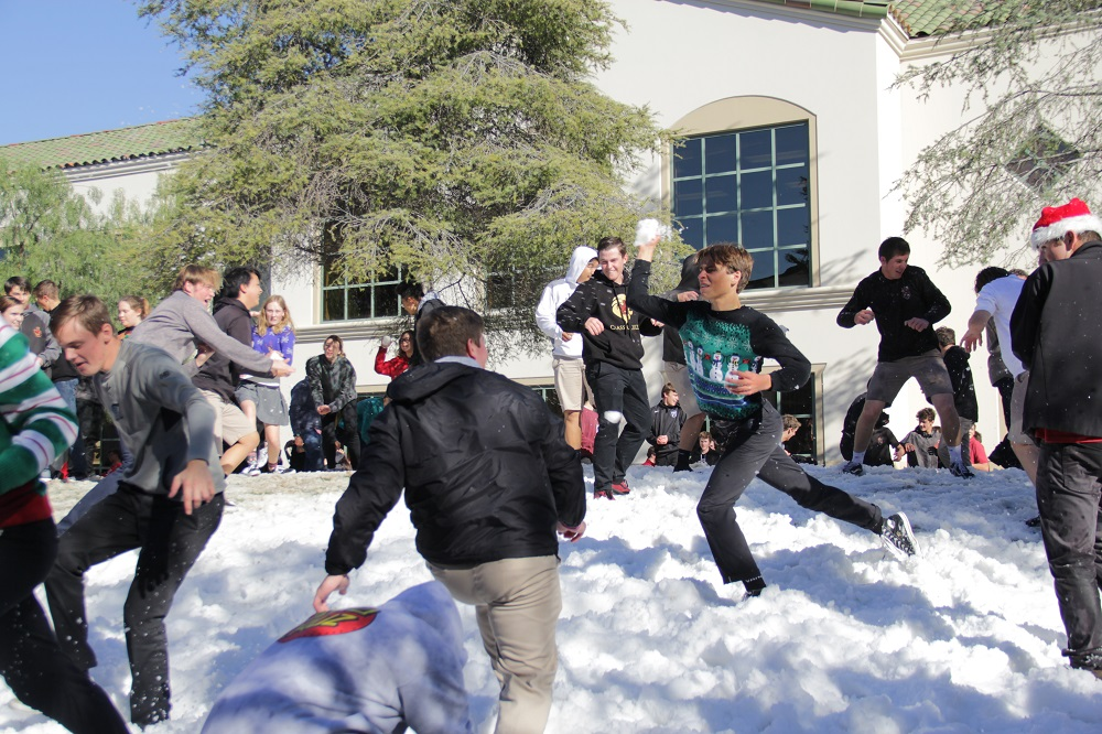 With JSerra's lunch break winding down, students continue pelting each other with snowballs. Photo: Shawn Raymundo