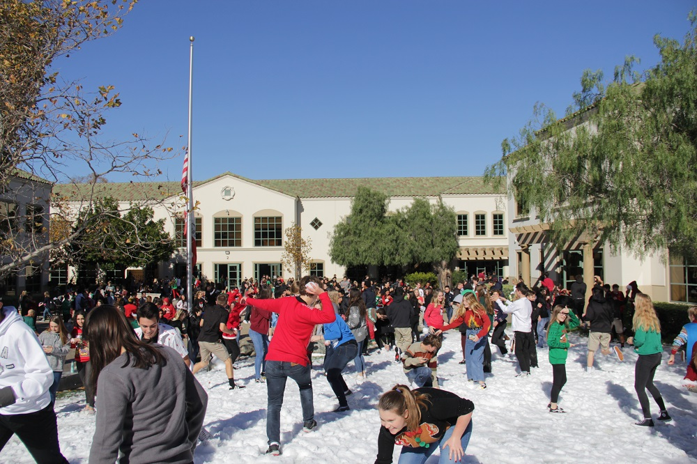 Students at JSerra High embark in an all-out snowball battle. Photo: Shawn Raymundo