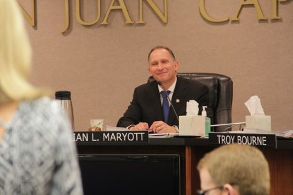 Newly appointed Mayor Brian Maryott listens to a public speaker during the Dec. 10 city council meeting. Photo: Shawn Raymundo