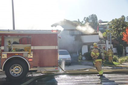 Orange County Fire Authority crews put out a structure fire on the 27000 block of Via Banderas in San Juan Capistrano on Thursday, Dec. 13. Photo: Shawn Raymundo