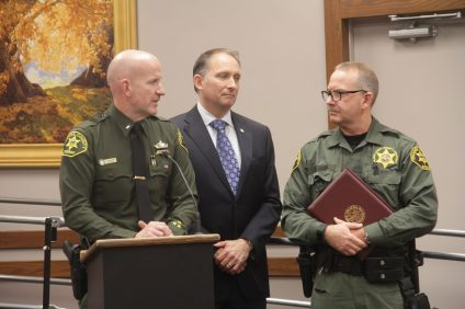 Mayor Brian Maryott and San Juan Capistrano Police Chief Lt. Carl Bulanek on Jan. 15 present Loren Webb, a deputy sheriff assigned to the reserve bureau, with an award, recognizing him for his service to the local community. Photo: Shawn Raymundo