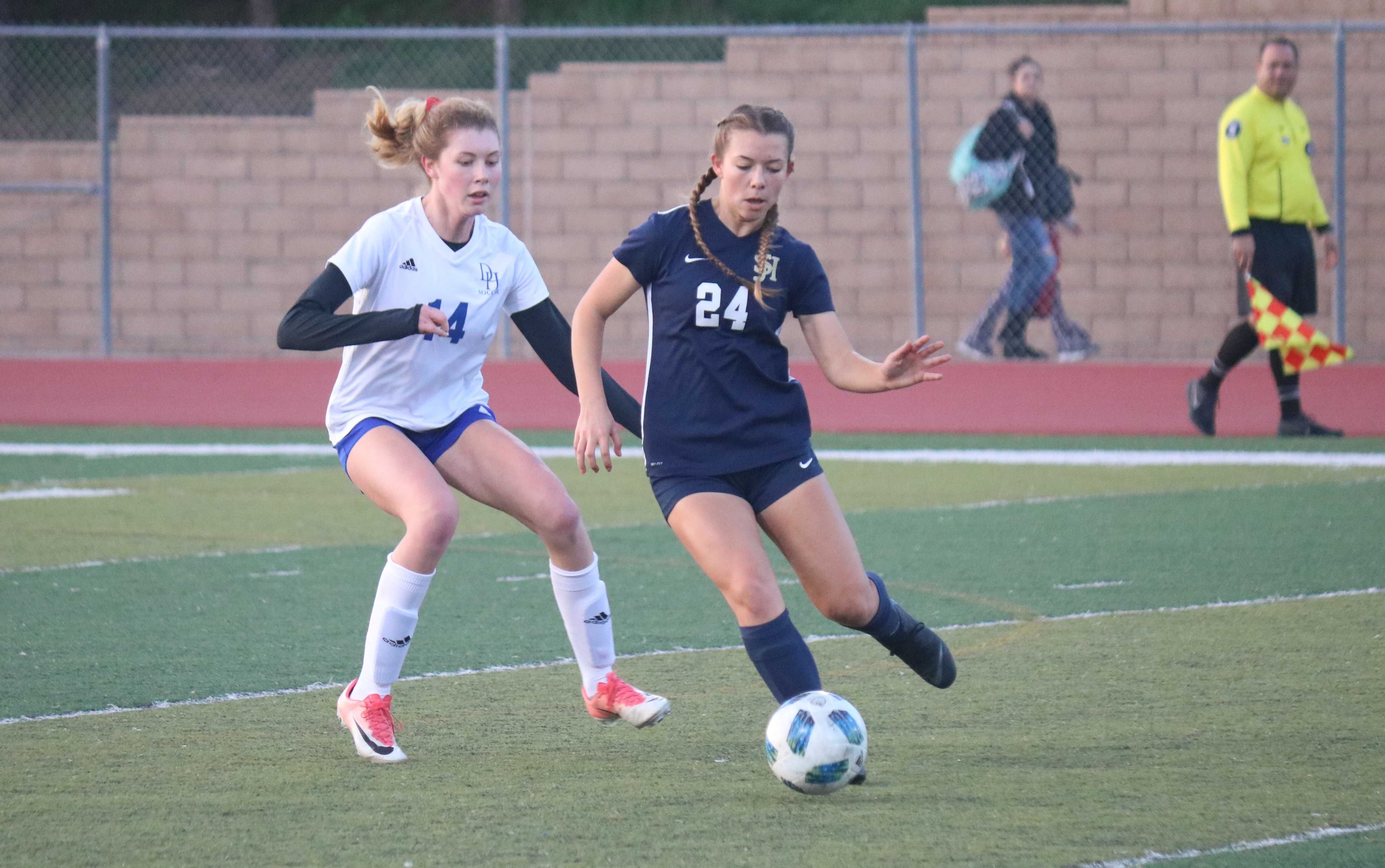 : The San Juan Hills girls soccer team has been competitive in its first season in the South Coast League and is fighting for playoff positioning down the stretch. Photo: Zach Cavanagh