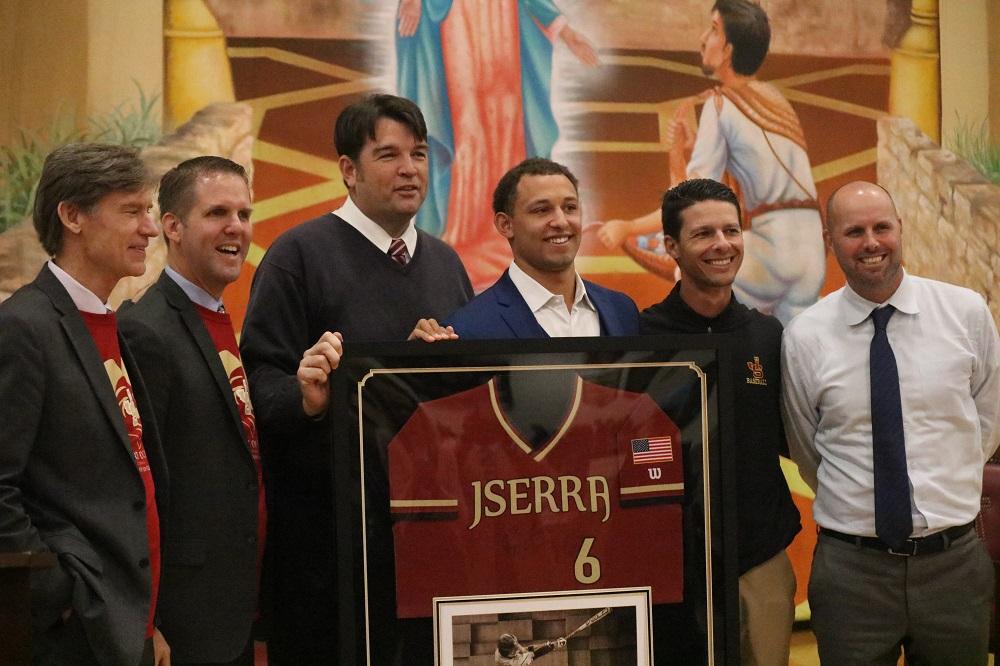JSerra baseball retires Royce Lewis' No. 6 jersey. Photo: Zach Cavanagh