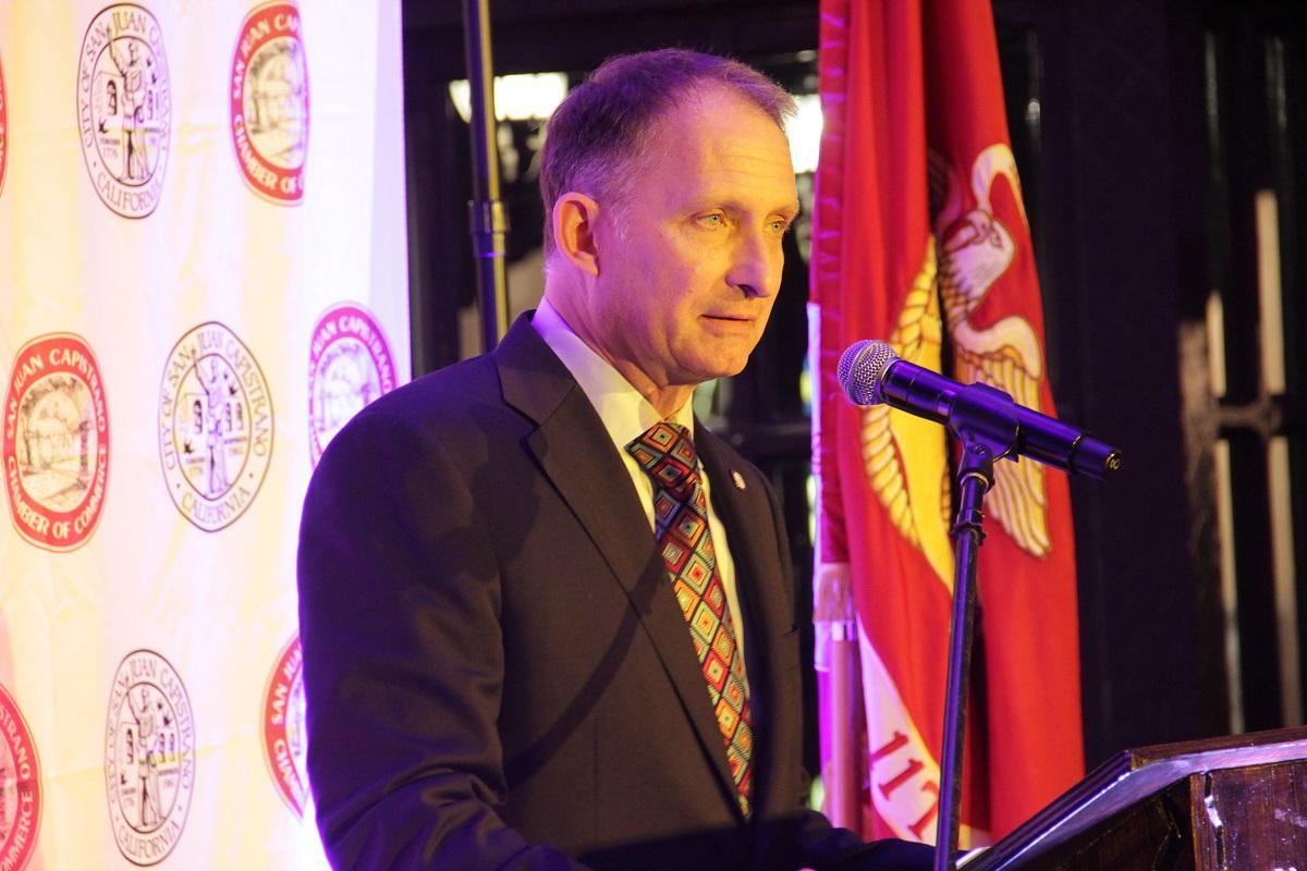 Mayor Brian Maryott delivers his State of the City address Thursday, March 14, at El Adobe de Capistrano. Photo: Shawn Raymundo