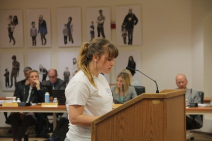 San Juan Hills High School junior Grace Aitken proposes that the Capistrano Unified School District create a mental health task force comprising both students and district officials during a board of trustees meeting March 13. Photo: Shawn Raymundo