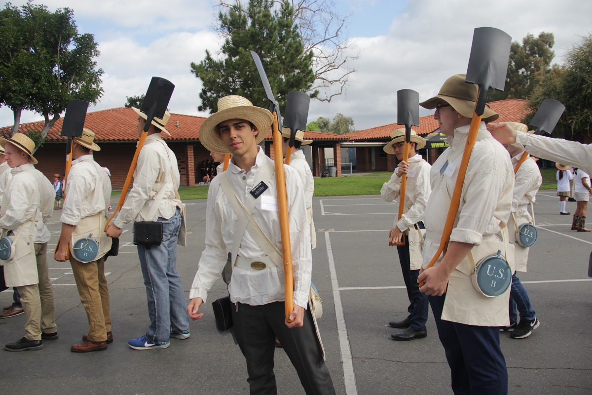 The Mormon Battalion group begins lining up to march in the parade. Photo: Shawn Raymundo