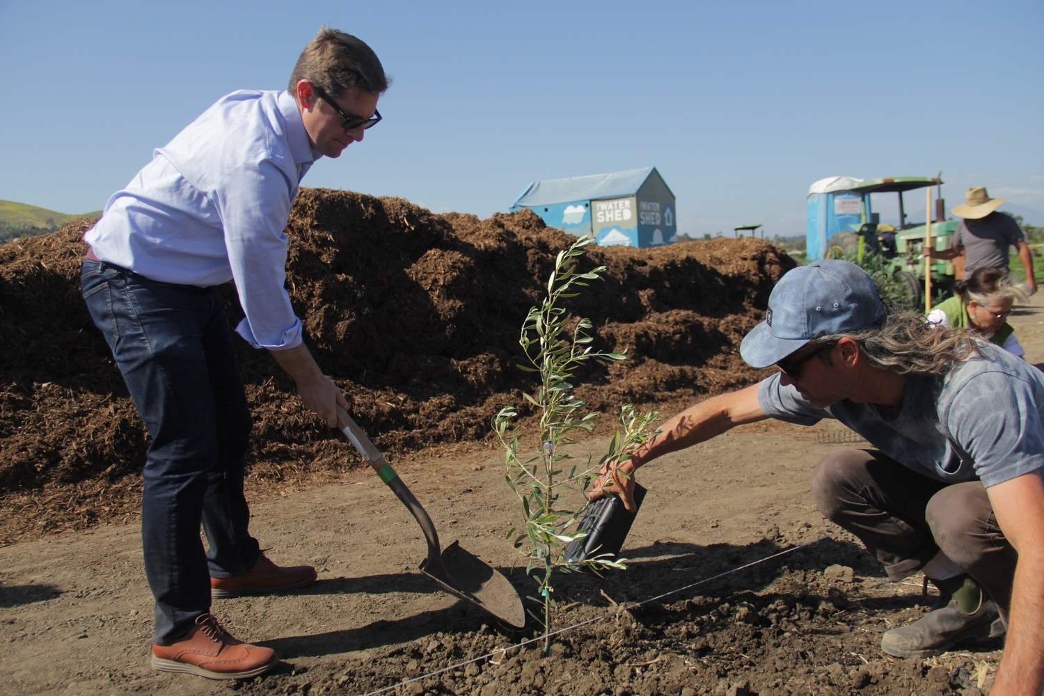 Congressman Mike Levin helps Ecology Center Executive Director Evan Marks plant an olive tree on Earth Day, April 22. Photo: Shawn Raymundo