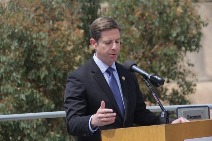 During a press conference at the San Onofre Nuclear Generating Station on Tuesday, April 16, Congressman Mike Levin announces that he'll be introducing a bill that could give the site priority when it comes to the offloading of spent nuclear waste. Photo: Shawn Raymundo