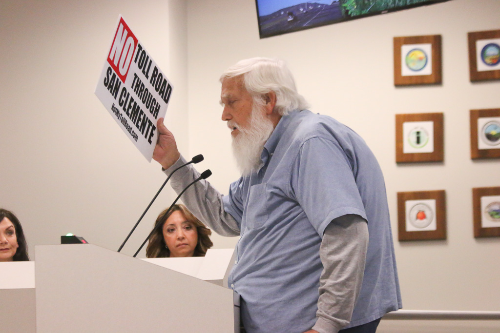 Ken Nielsen, a longtime San Clemente resident, voices his discontent with the TCA on Thursday, April 11, during a joint board meeting. Photo: Eric Heinz