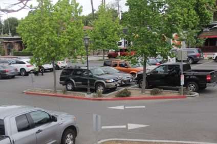 Cars parked in the multi-modal lot off Verdugo Street in San Juan Capistrano's downtown district. Photo: Shawn Raymundo