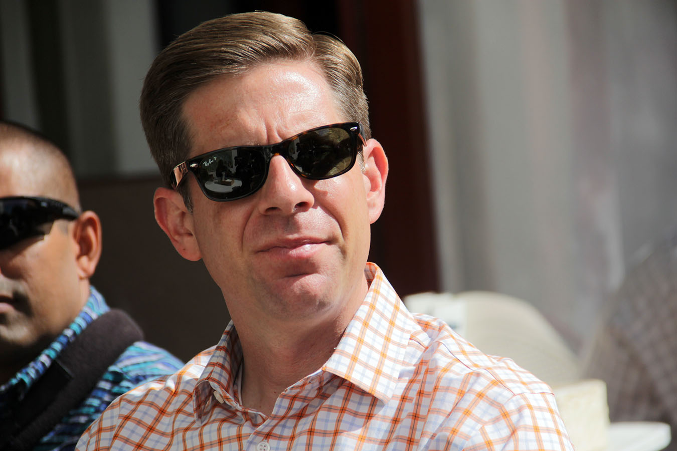 """Rep. Mike Levin listens to some constituents of California's 49th Congressional District at Café Calypso in San Clemente, where he held his """"Coffee with your Congressman"""" event on Wednesday, May 29. Photo: Shawn Raymundo"""