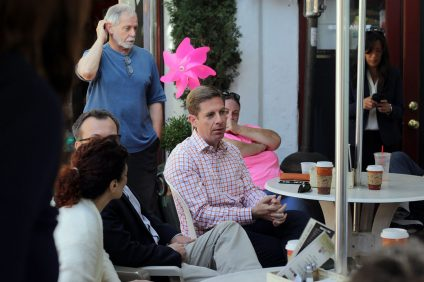 "Rep. Mike Levin, D-CA, speaks with constituents during his ""Coffee with your Congressman"" event at Café Calypso in San Clemente on Wednesday, May 29. Photo: Shawn Raymundo"