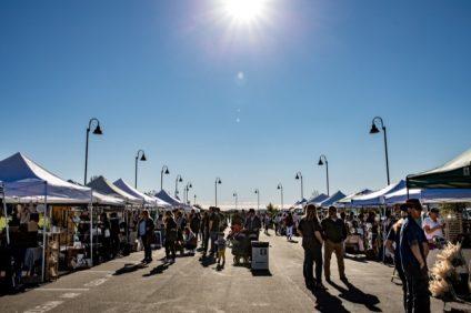 Patrons shop the marketplace at the pavilion in Rancho Mission Viejo. Photo: Sam Ellison