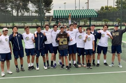 San Juan Hills boys tennis captured its first CIF-SS championship with an upset of No. 2 seed Mater Dei in the Division 3 Final. Photo: San Juan Hills High School