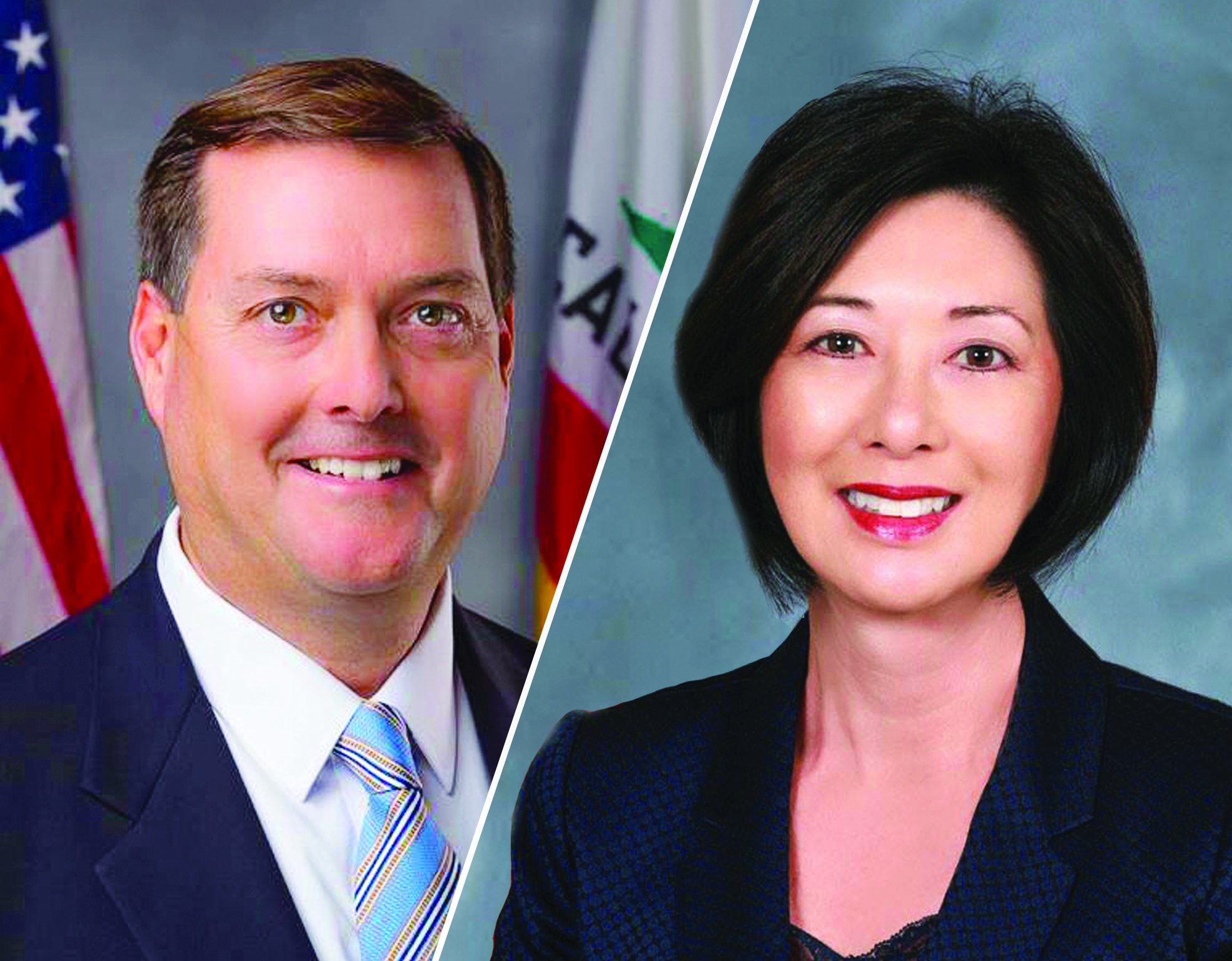 Assemblymember Bill Brough is currently facing accusations of sexual misconduct from a handful of women, including Orange County Supervisor Lisa Bartlett. Photos: Courtesy of the offices of Brough and Bartlett