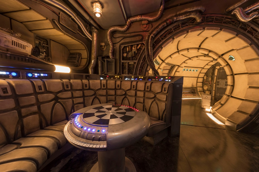 The famous main hold lounge is one of several areas Disney guests will discover inside Millennium Falcon: Smugglers Run before taking the controls in one of three unique and critical roles aboard the fastest ship in the galaxy at Star Wars: Galaxy's Edge at Disneyland Park in Anaheim, California and at Disney's Hollywood Studios in Lake Buena Vista, Florida. (Joshua Sudock/Disney Parks)