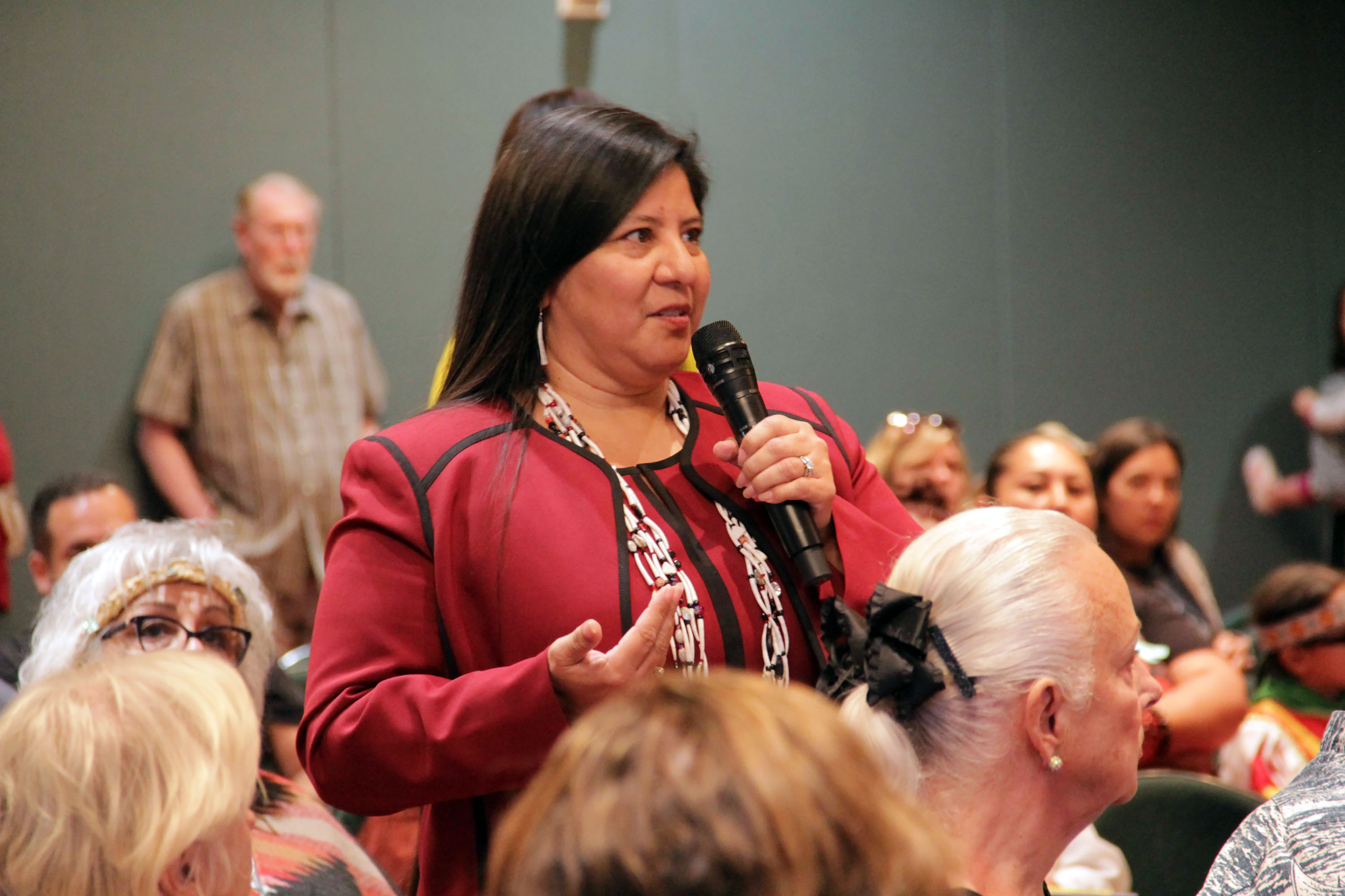 Juaneño Band of Mission Indians Chairperson Teresa Romero speaks about the lack of a cultural heritage site for the Acjachemen people in San Juan Capistrano during the city's workshop on how San Juan's Northwest Open Space should be used. Photo: Shawn Raymundo