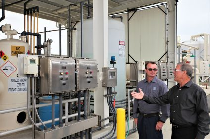 SCWD Chief Operations Officer Joseph McDevitt and Senior Plant Operator Michael Buhl monitor the current desalination facility that processes water from San Juan Creek. Photo: Adam Gilles