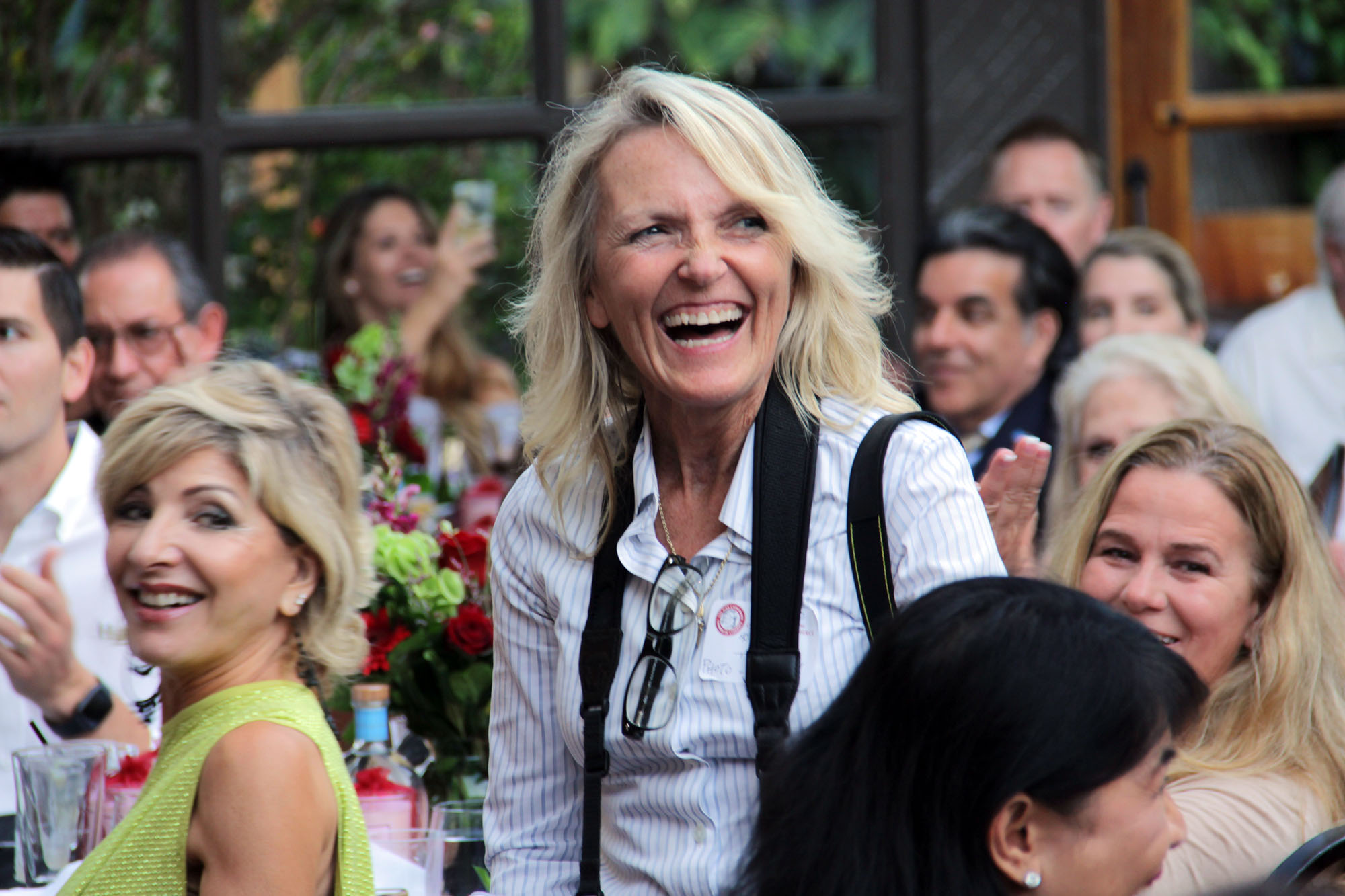 Diana Schmitt is elated after she and her husband Scott Schmitt were recognized with the San Juan Capistrano Chamber of Commerce's Lifetime Achievement Award on July 11. Photo: Shawn Raymundo
