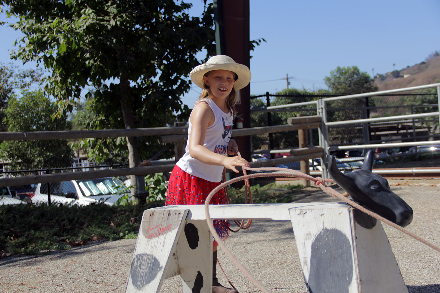 Taking part in the J.F. Shea Therapeutic Riding Center's annual Cowboy Camp on Wednesday, Aug. 14, Lucy Kurtenacker successfully ropes a fake steer. Photo: Shawn Raymundo