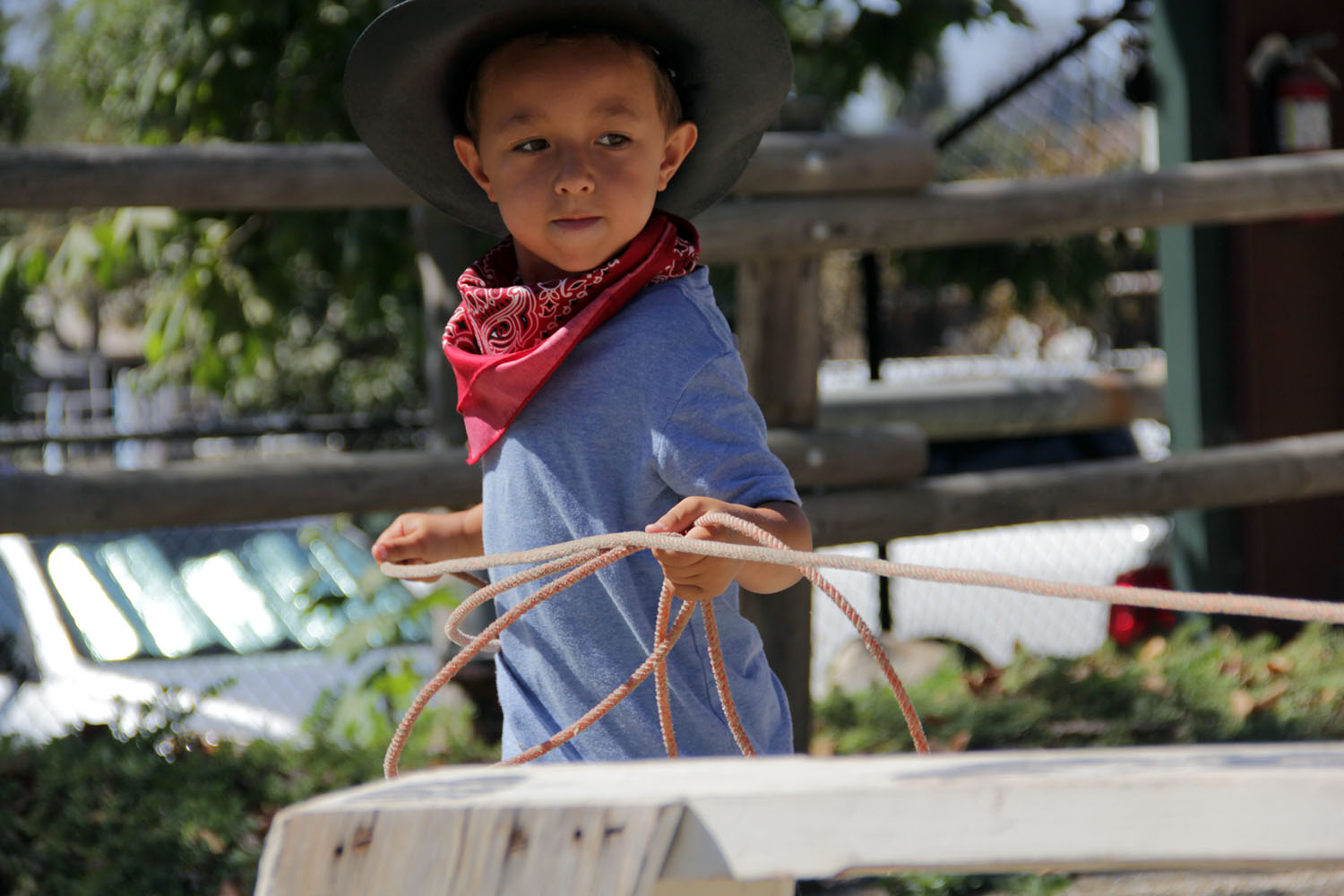 James Smith tightens his rope after getting his lasso around the fake steer during the Cowboy Camp the J.F. Shea Therapeutic Riding Center holds annually Wednesday, Aug. 14. Photo: Shawn Raymundo